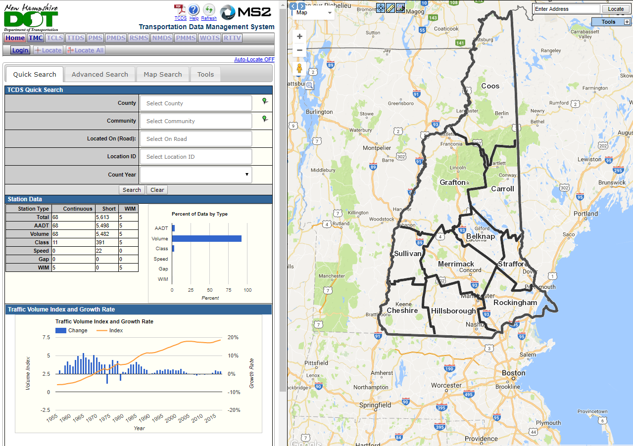 NHDOT Traffic Count Web Viewer Application
